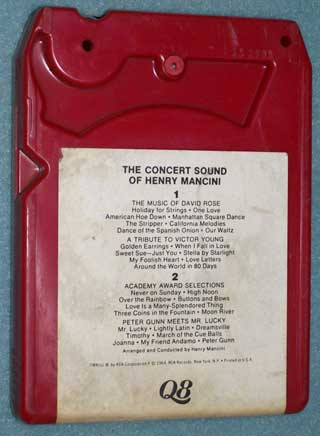 Photo of the rear of an eight track quadraphonic tape cartridge - The Concert Sound of Henry Mancini