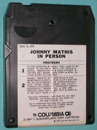 Photo of eight track quadraphonic tape cartridge - Johnny Mathis In Person - rear