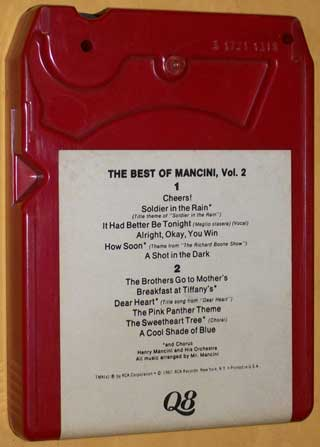 Photo of Quad 8 track tape - Henry Mancini, The Best Of - Volume 2 - rear