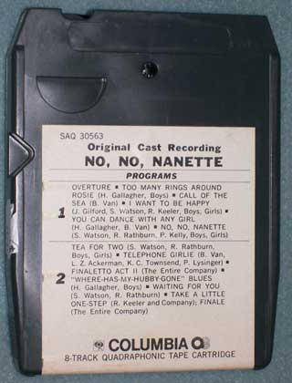 Photo of eight track quadraphonic tape cartridge - No, No, Nanette, rear