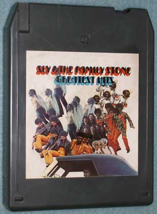 Photo of eight track quadraphonic tape cartridge - Sly and The Family Stone - Greatest Hits - front