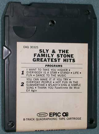 Photo of eight track quadraphonic tape cartridge - Sly and The Family Stone - Greatest Hits - rear