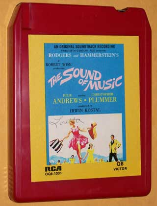 Photo of eight track quadraphonic tape cartridge - The Sound of Music by Rodgers and Hammerstein, front