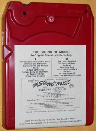 Photo of eight track quadraphonic tape cartridge - The Sound of Music by Rodgers and Hammerstein, rear