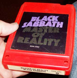 Photo of stereo 8 track tape cartridge, Black Sabbath, Master of Reality, top