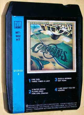 Photo of stereo 8 track tape cartridge, Commodores - Natural High, front