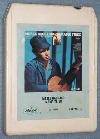 Photo of eight track Stereo tape cartridge - Merle Haggard, Mama Tried, front
