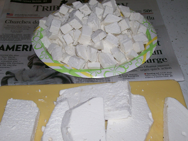 Photo of slabs and diced Giant Puffball pieces - Langermannia gigantea