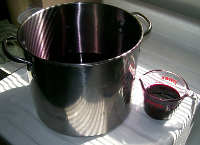 photo of a batch of Black Elderberry juice all done