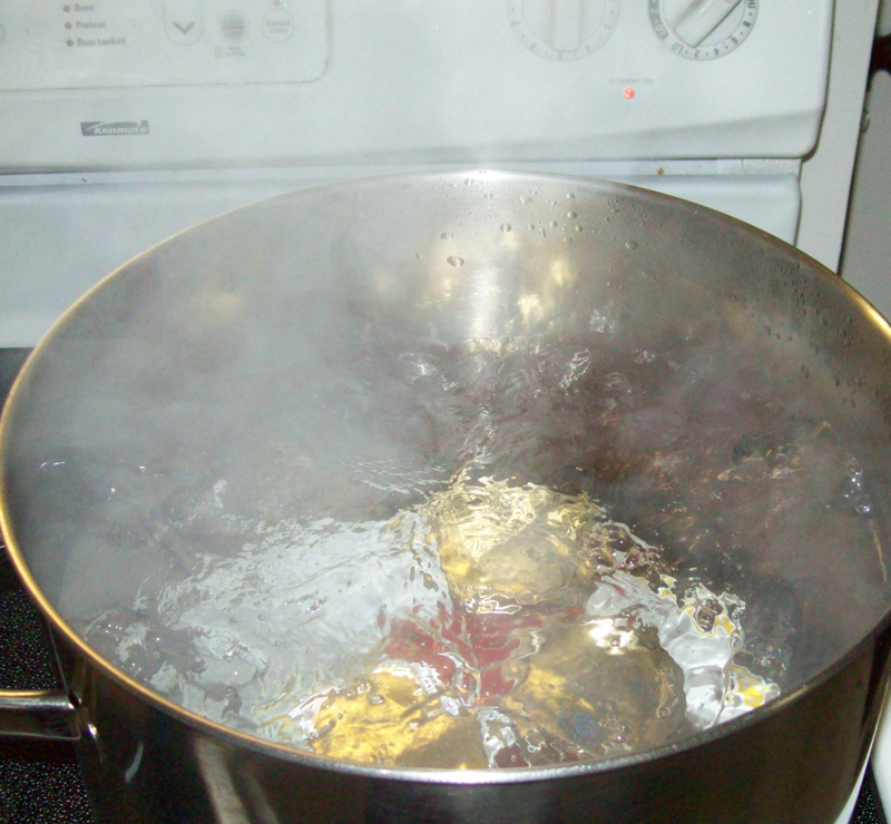 photo of a boiling water bath.