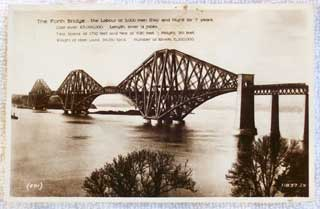 Photo of front of Real Photo postcard showing The Forth Bridge, Scotland