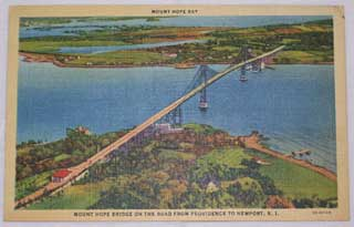 Photo of Unused American postcard of Mount Hope Bay Bridge, on road from Providence to Newport, Rhode Island - Front