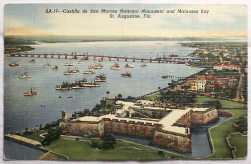 Photo of unused American postcard - Costillo de San Marcos and Matanzas Bay, St. Augustine, Florida - front.