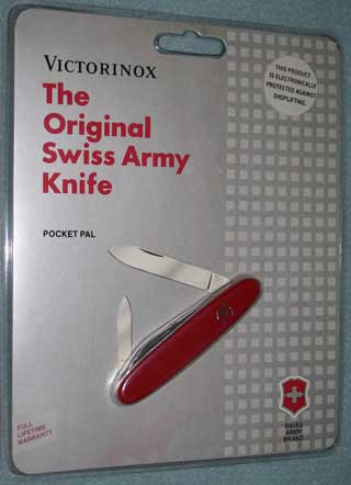 Photo of a Swiss Army Knife - Pocket Pal model - Red - New. Sealed in original plastic.