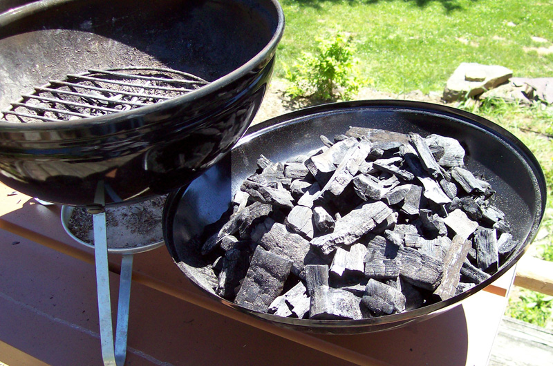 photo of a batch of small lump charcoal ready to be stashed away.