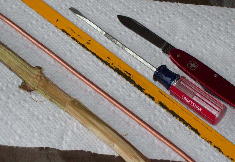 photo of some the tools used for making Elderberry spiles.