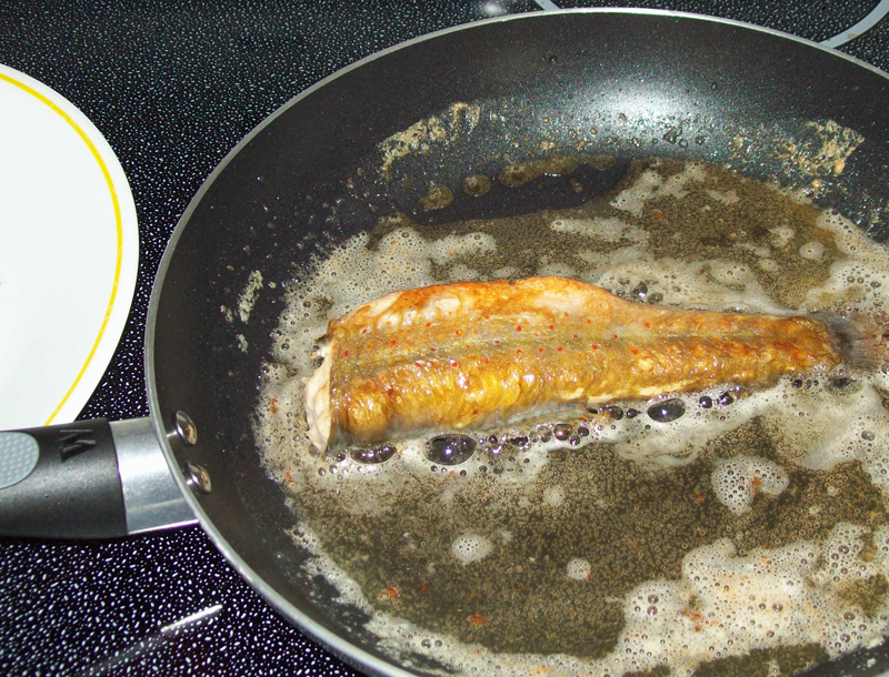 photo of native brook trout frying on second side.