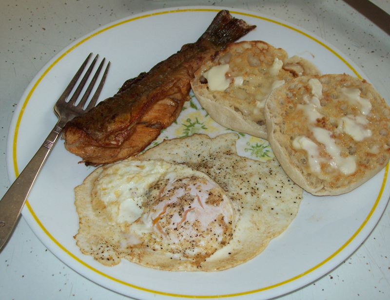 photo of cooked native brook trout on the plate with fried egg and toasted, buttered english muffin.