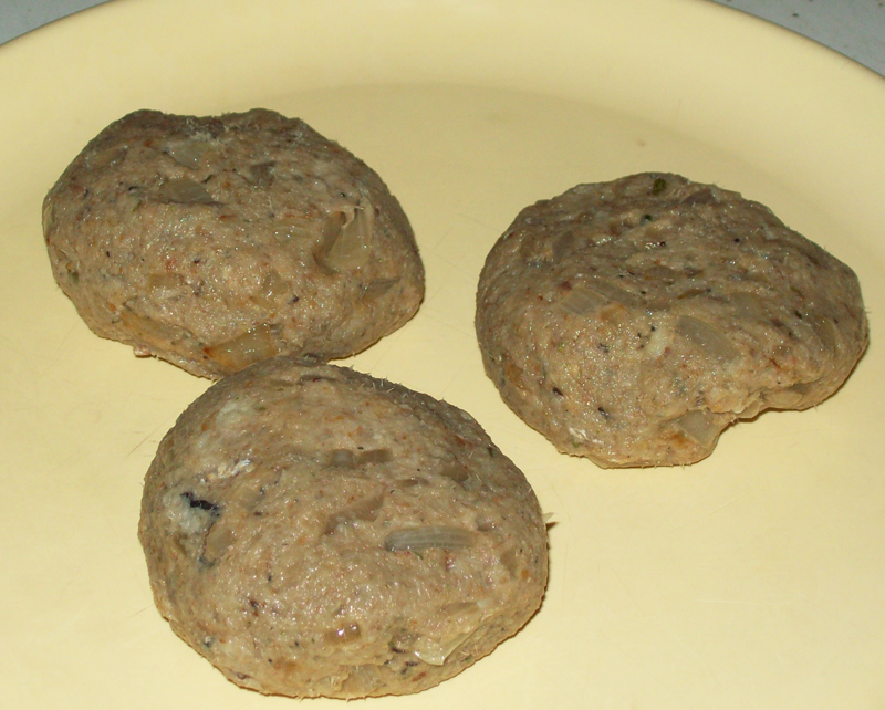 photo of three sardine patties ready to fry.