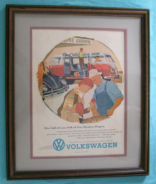 Photo of an Ad for 1959 Volkswagen DeLuxe Station Wagon from 1958 magazine, In a Matted Frame. Frame not included - for display only